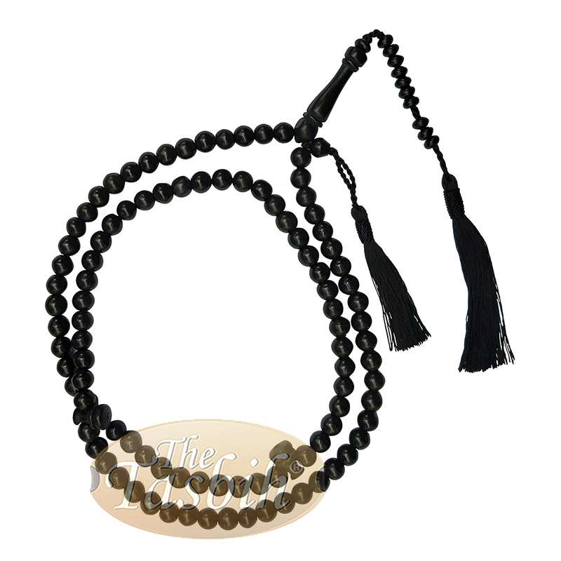 Handcrafted 8mm Black Citrus Wood Tasbih 99-beads with Black Tassel