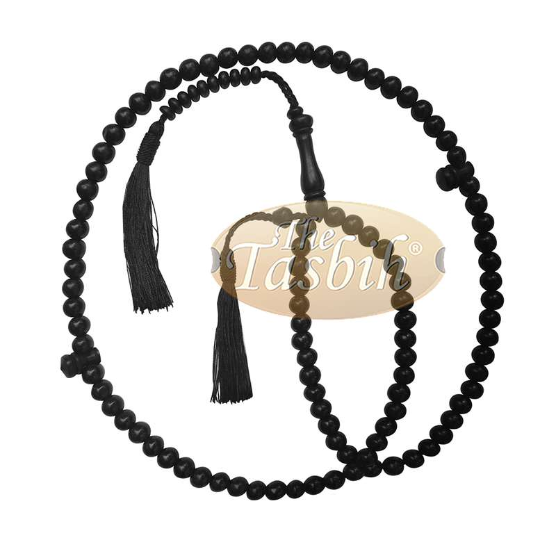 Natural Handcrafted 9mm Black Beads Wooden Tasbih 99-beads with Black Tassel