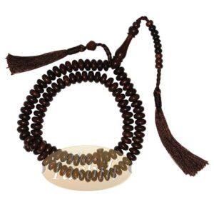 Muslim Prayer Beads – 10mm 99-Bead Flat Oval Tamarind Tasbih With Matching Dark Brown Tassels And 10-bead Counter